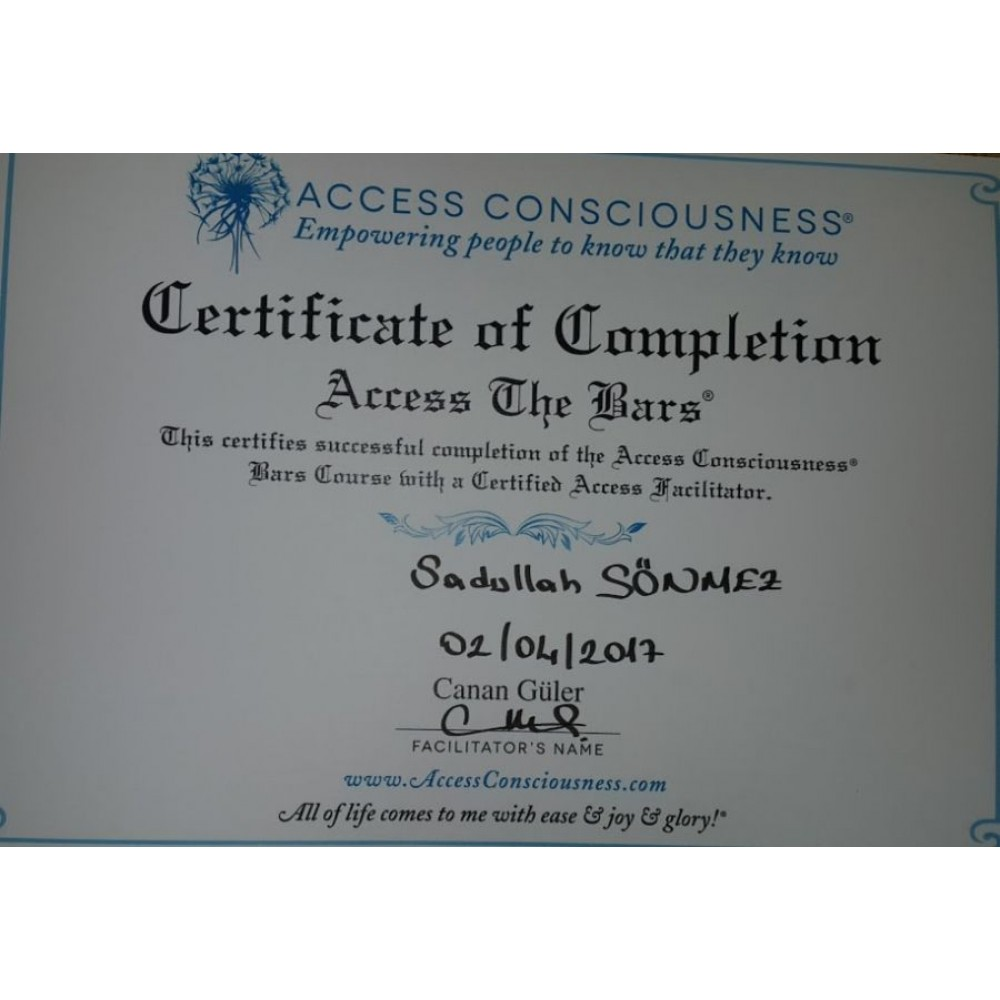 CERTIFICATE OF COMPLETION ACCESS THE BARS